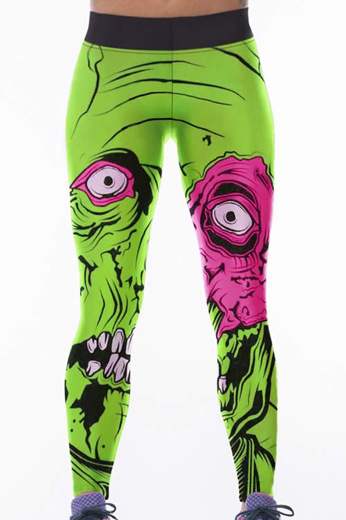 Women Green Monster Printed High Waisted Yoga Pants