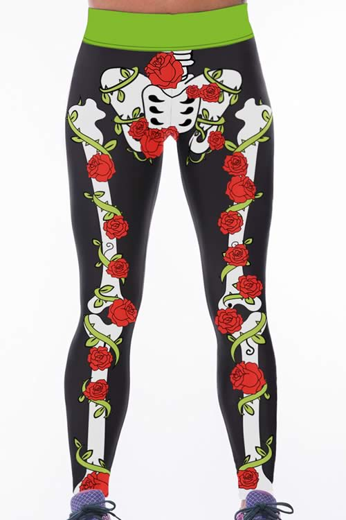 Women Rose Skeleton High Waisted Gym Yoga Pants