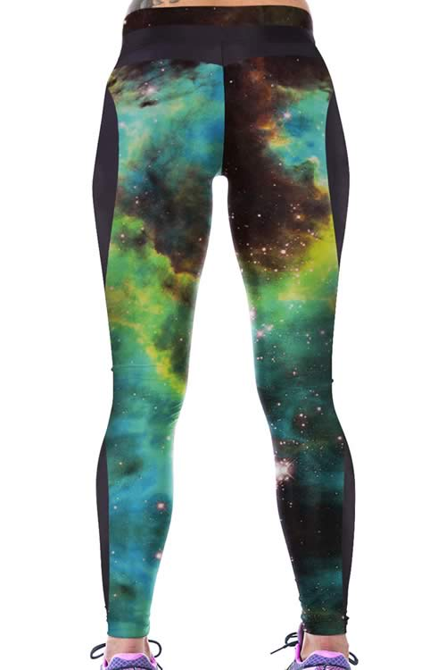 Green Galaxy Print Women Sport Leggings