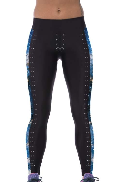 Lace-up Print Side Blue Galaxy Yoga Leggings