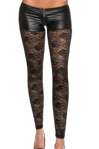 Black Metallic Shorts Attached Lace Leggings
