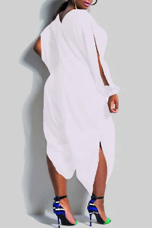 Plus Size V Neck Long Sleeve Cut Out Jumpsuit in White