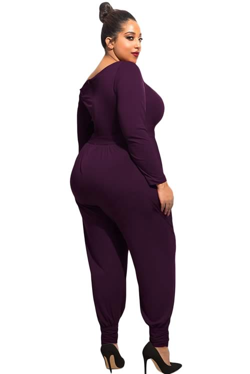 Plus Size Off Shoulder Long Sleeve Casual Jumpsuit in Purple