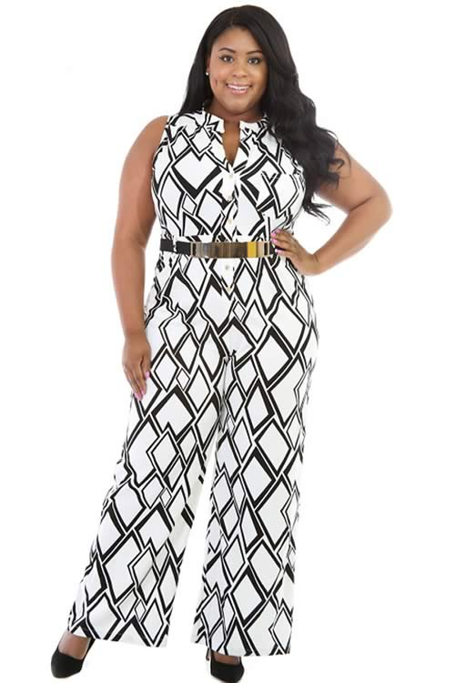 Plus Size Sleeveless Box Printed Wide Leg Jumpsuit in White