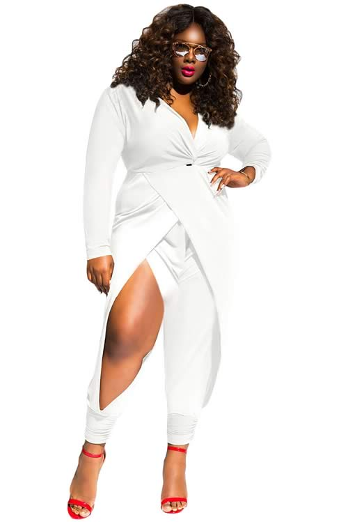 65ff6b518d0e Twist Knot Slit Long Sleeve Plus Size Jumpsuit in White