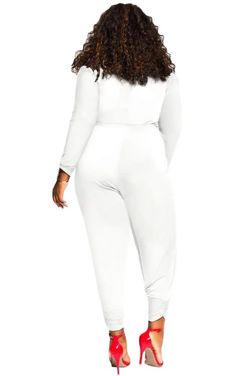Twist Knot Slit Long Sleeve Plus Size Jumpsuit in White