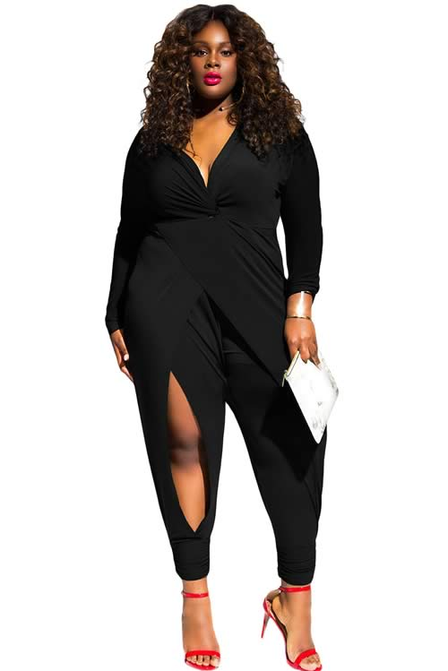 Twist Knot Slit Long Sleeve Plus Size Jumpsuit in Black