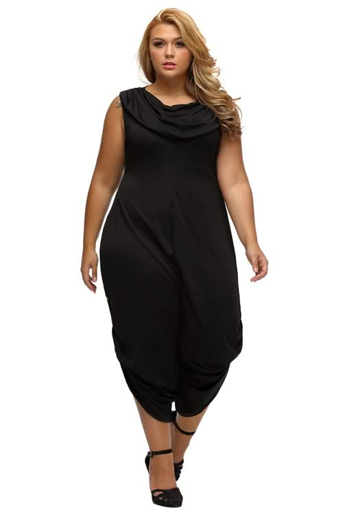 Cowl Neck Plus Size Loose Fitted Harem Jumpsuit in Black
