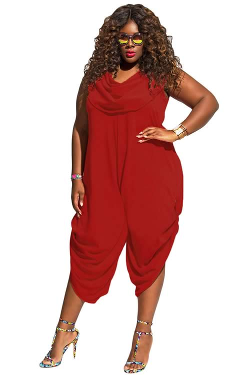Cowl Neck Plus Size Loose Fitted Harem Jumpsuit in Red