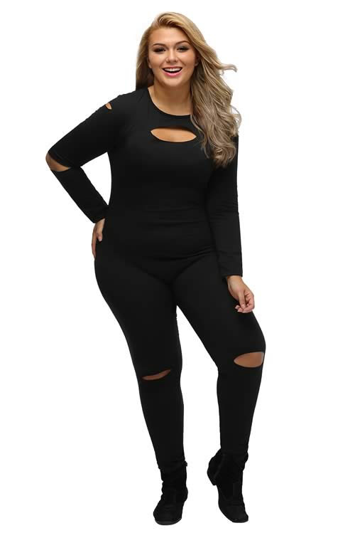 Plus Size Slit Long Sleeve Cut Out Jumpsuit in Black