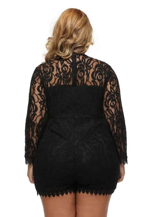 Plus Size Long Sleeve Floral Crochet Lace Romper in Black