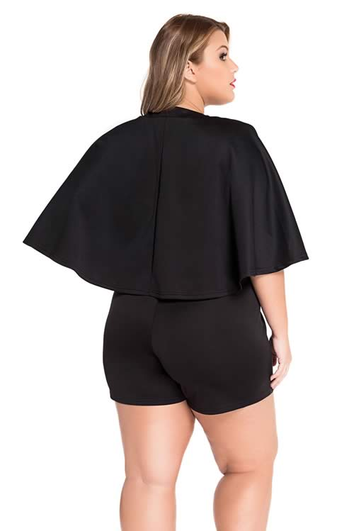 Plus Size Fitted Plunging Wrap V Neck Cape Romper in Black