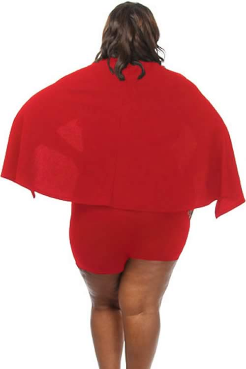 Plus Size Fitted Plunging Wrap V Neck Cape Romper in Red