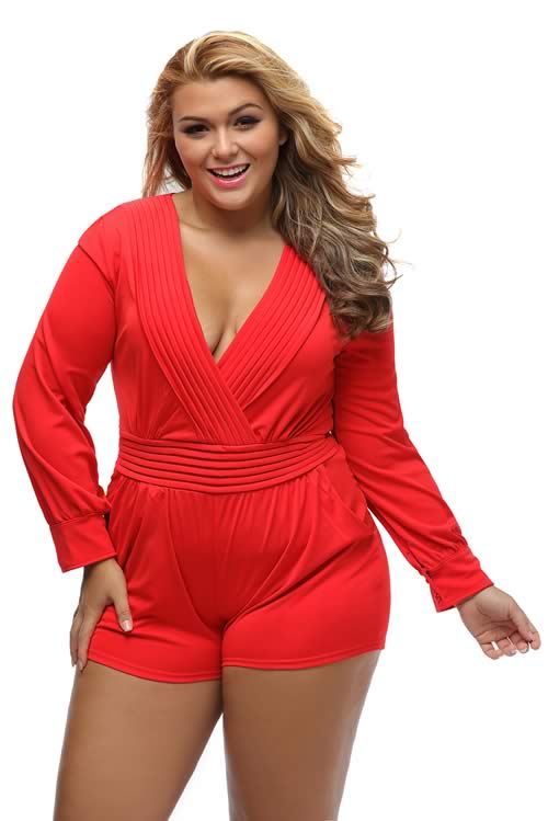 Plus Size Pleated Wrapped Front Long Sleeve Romper in Red