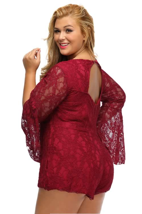 Plus Size Floral Lace Bell Sleeve Lace up Romper in Red