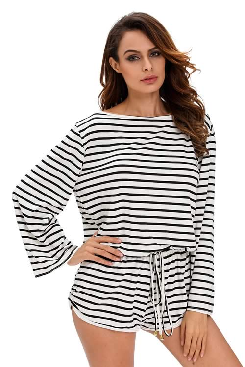 Womens Batwing Striped Cover Up Romper in Black White