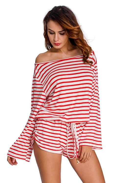 Womens Batwing Striped Cover Up Romper in Red White