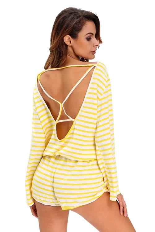 Womens Batwing Striped Cover Up Romper in Yellow White