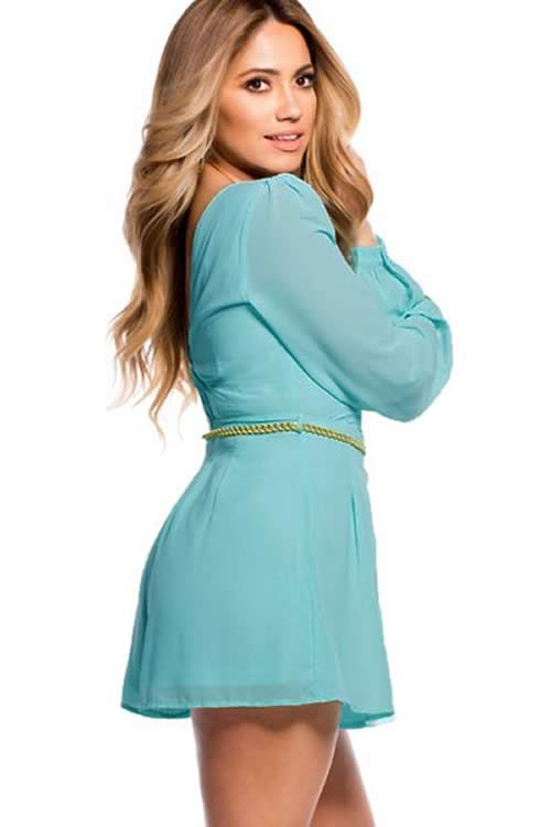 Mini Long Sleeve Romper with Braided Belt in Sky Blue
