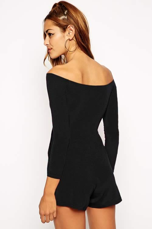 Fashion Women Off Shoulder Romper Playsuit in Black