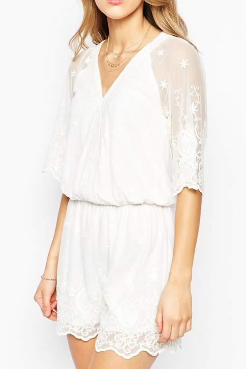 Womens Lace Mesh Overlay Romper in White