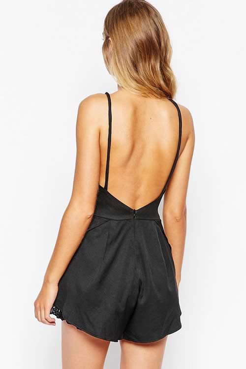 Sleeveless Lace Trim Backless Romper in Black