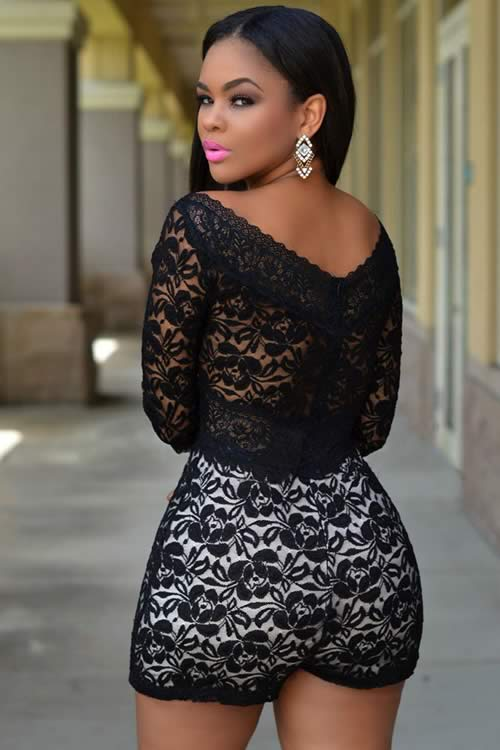 Floral Lace Overlay 3/4 Sleeve Romper in Black White