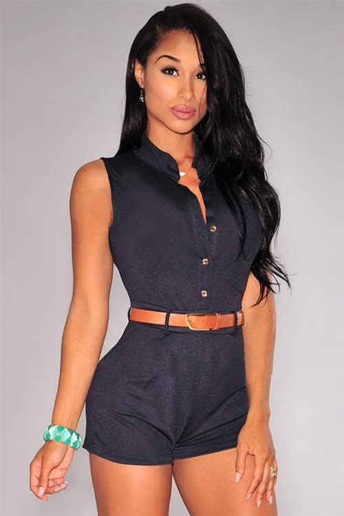 Womens Button Down Belted Sleeveless Romper in Black
