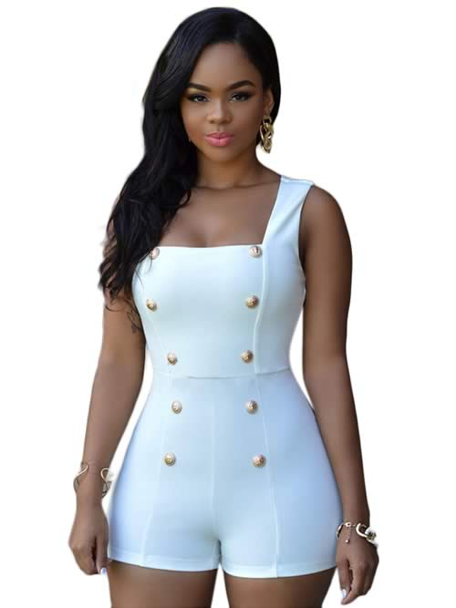Womens Sleeveless Gold Buttons Romper in White