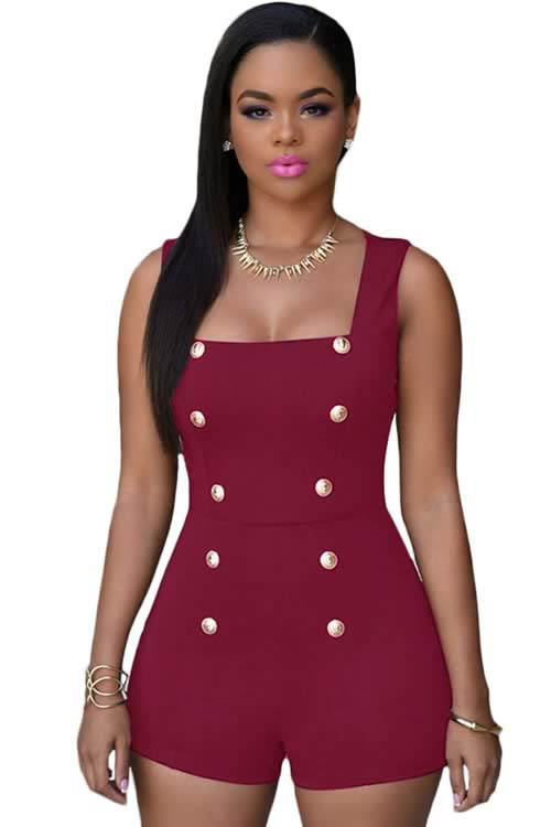 Womens Sleeveless Gold Buttons Romper in Red