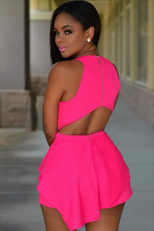 Fashion Womens Sleeveless Peplum Romper in Pink