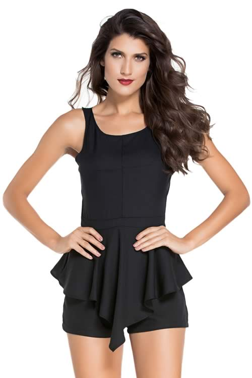 Fashion Womens Sleeveless Peplum Romper in Black