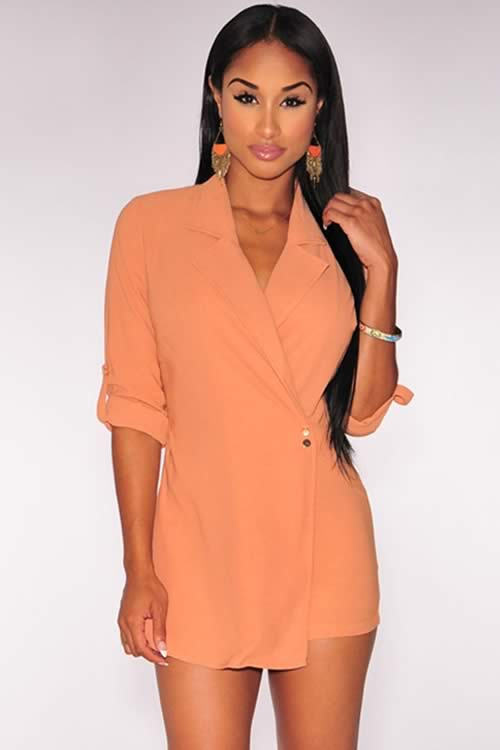 Long Sleeve V Neck Trench Romper in Orange