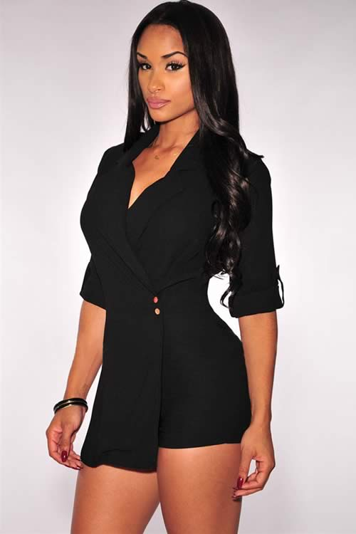 Long Sleeve V Neck Trench Romper in Black