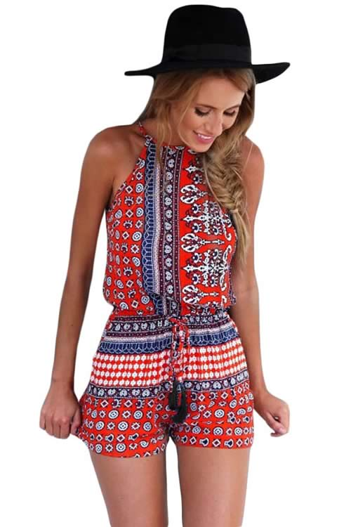 Floral Printed Womens Sleeveless Romper in Red