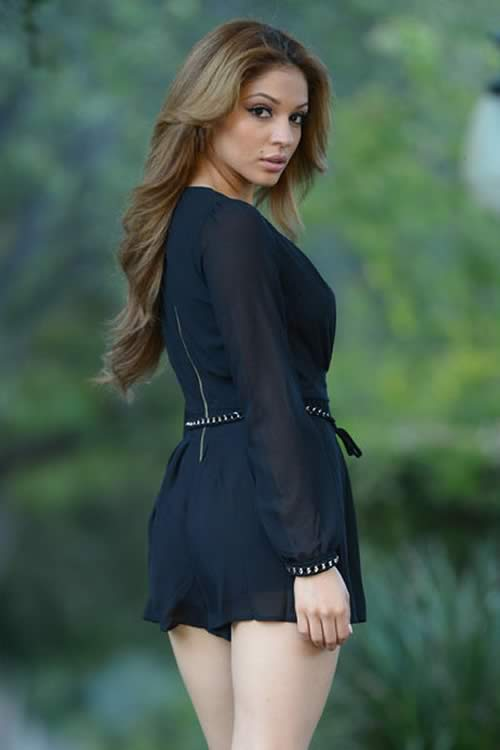 Belted Sheer Long Sleeve Chiffon Romper in Black