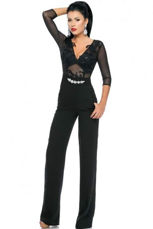 V Neck Shimmer 3/4 Sleeve Lace Jumpsuit in Black