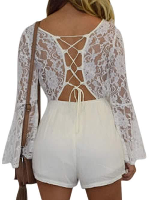 Womens Long Sleeve Floral Lace Romper in White