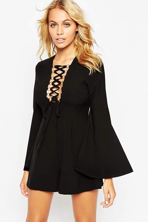 Long Sleeve Lace Up Romper in Black with Gold Rings Detail