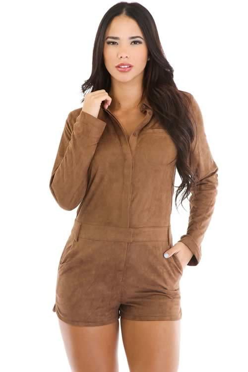 Womens Long Sleeve Faux Suede Romper in Brown