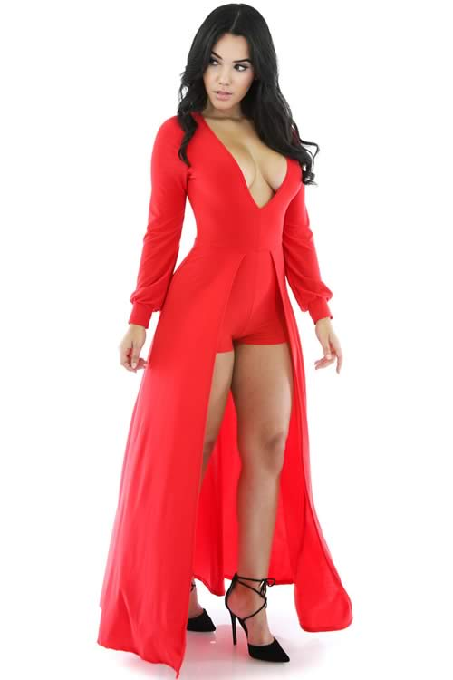 V Neck Long Sleeve Dip Dye Long Tail Romper in Red