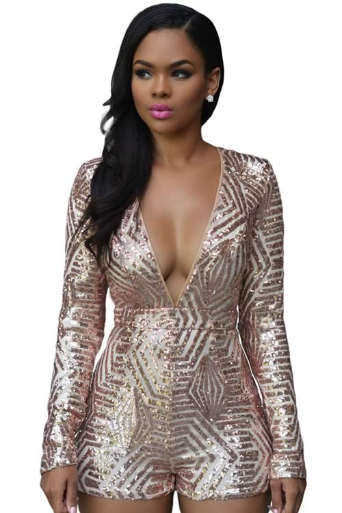 Deep V Neck Long Sleeve Sequin Romper in Rose Gold