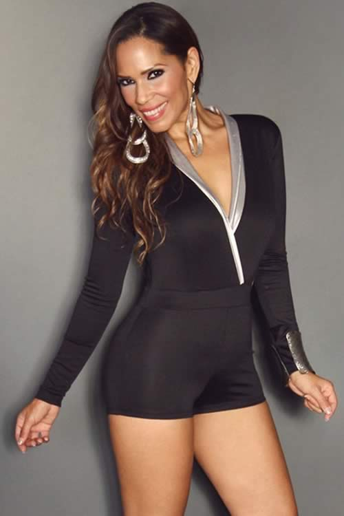 Long Sleeve with Silver V Neck Romper in Black