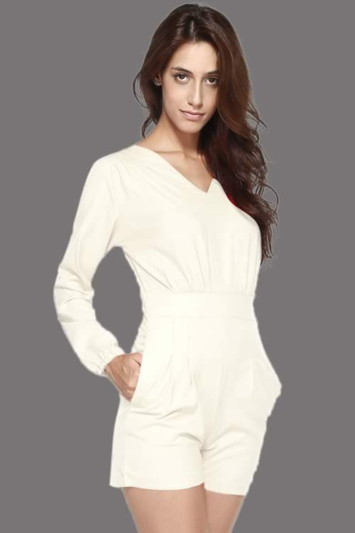 Long Sleeve V Neck Short Casual Romper in White