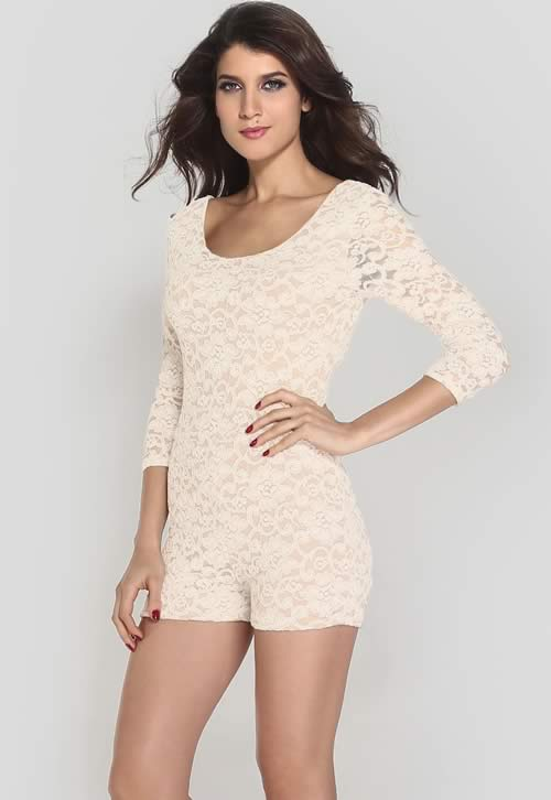 Lace 3/4 Sleeve Knotted Key Hole Back Romper in White