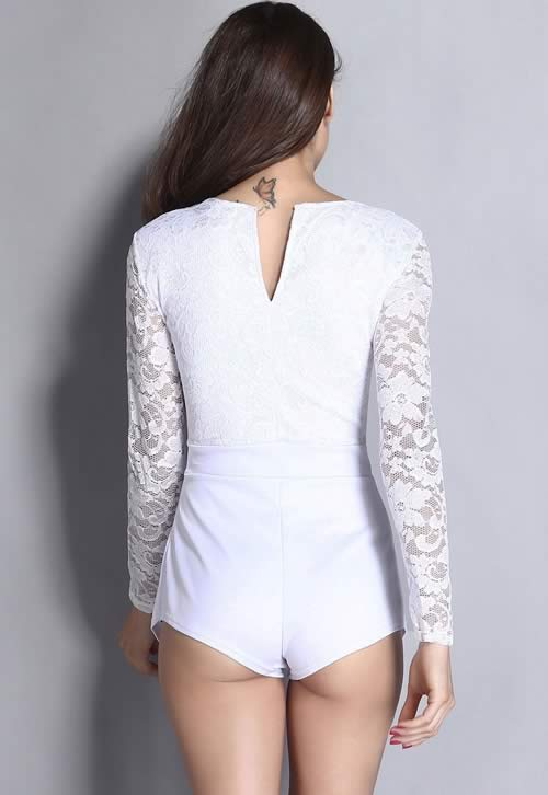 Long Sleeve Lace Plunge Short Romper in White