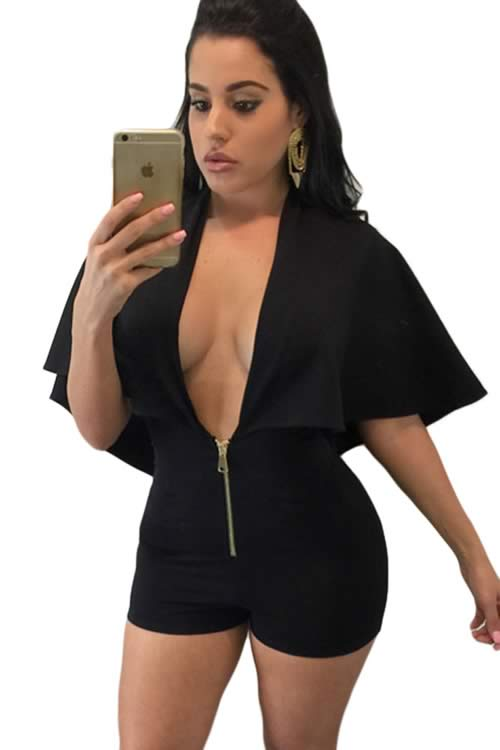 Deep V Neck Gold Zipper Plunging Cape Romper in Black