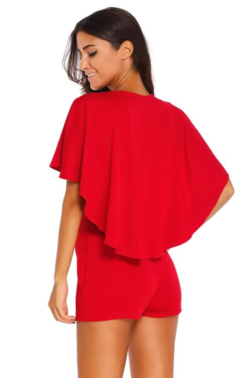 Deep V Neck Gold Zipper Plunging Cape Romper in Red