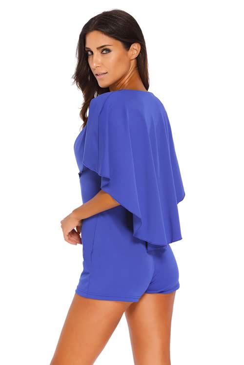 Deep V Neck Gold Zipper Plunging Cape Romper in Blue