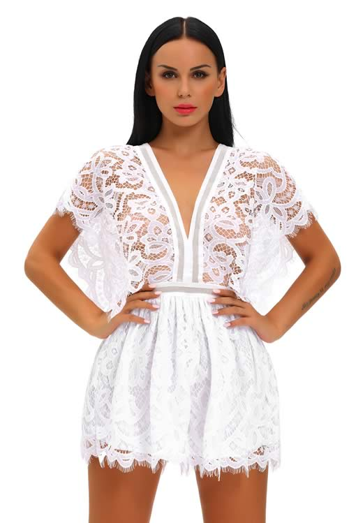 V Neck Lace Sheer Top Hollow Out Back Romper in White
